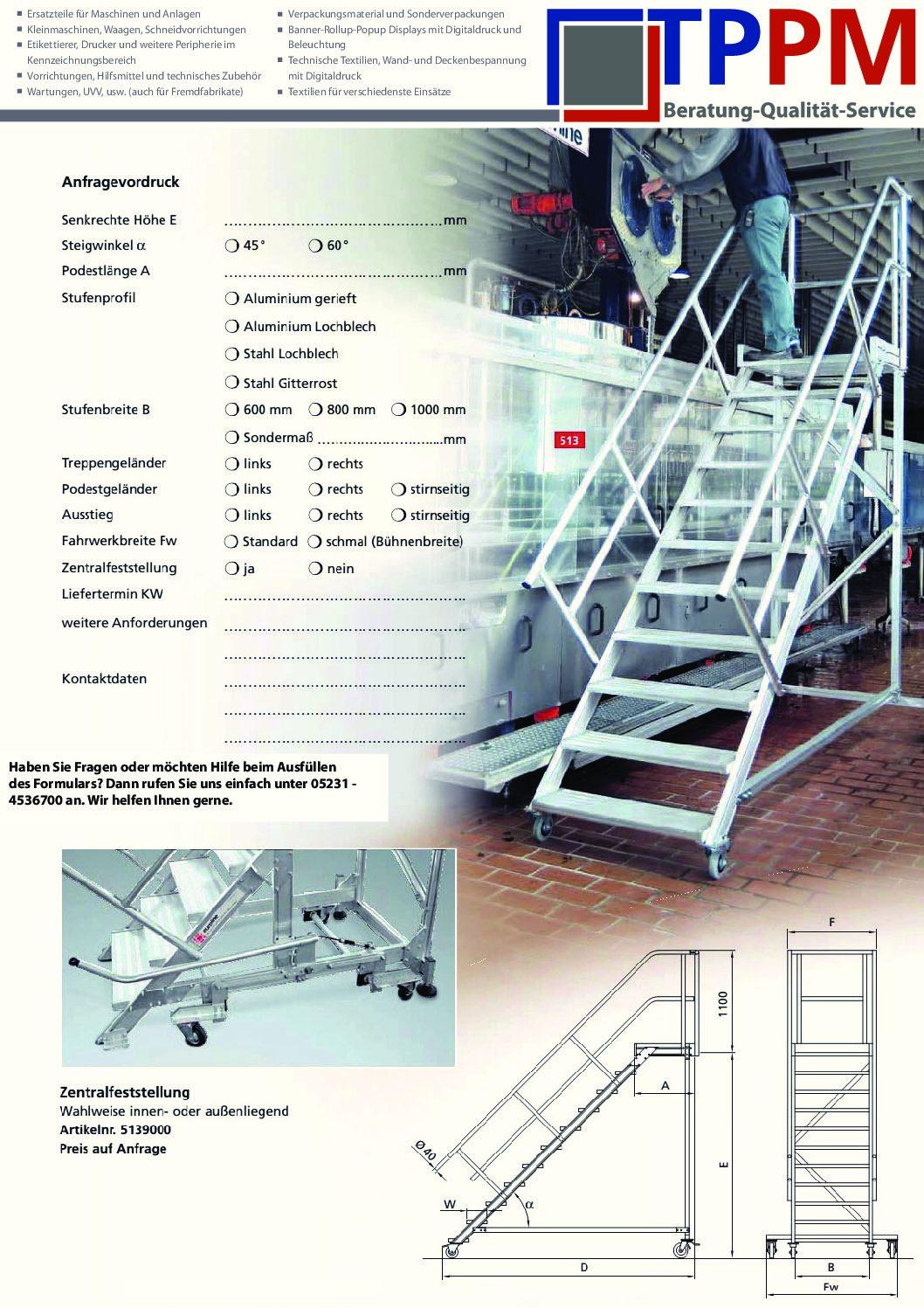 Anfrageformular für Leitern, Bühnen und Gerüste – TPPM GmbH